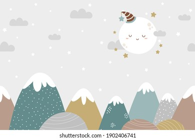Seamless mountains and moon background in dusty pastel colors. For nursery room wallpaper, decoration, web banners, poster, etc.