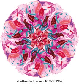 Seamless multicolor pattern with oriental mandala. Floral mandala pattern. Kaleidoscope elements. Relax lifestyle. For spa, massage salons