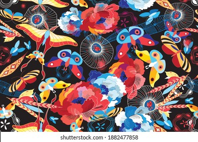Seamless multicolored pattern of flowers and butterflies on a dark background. Example of a butterfly design pattern for Wallpaper or fabric