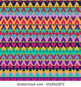 Seamless multi-colored pattern with hearts and stripes. For textile fabrics, clothes, socks, cover, backpack, web.