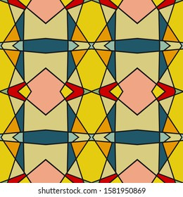Seamless multi-colored pattern with a predominance of yellow, beige, blue and pink. Vector illustration