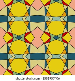 Seamless multi-colored pattern with a predominance of yellow. Vector illustration