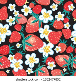 Seamless multicolored pattern of strawberries and flowers on a dark background. Example of a strawberry pattern for packaging and advertising