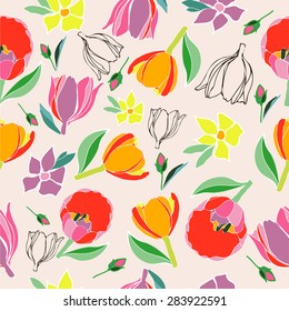 Seamless multicolored vector tulips pattern