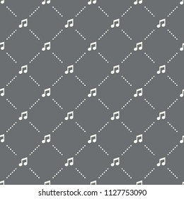 seamless Music pattern on a dark background. Music icon creative design. Can be used for wallpaper, web page background, textile, print UI/UX