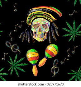 Seamless music Rastafarian pattern with cannabis, skull and maracas, treble clef, note vector background. Perfect for wallpapers, pattern fills, web page backgrounds, surface textures, textile