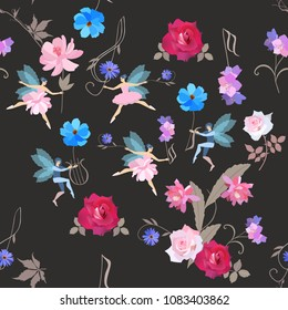 Seamless musical magic pattern. Cute  fairies in ballet tutus and elves dance with beautiful garden flowers, treble clef and lyre isolated on black background in vector. Wallpaper, print for fabric.