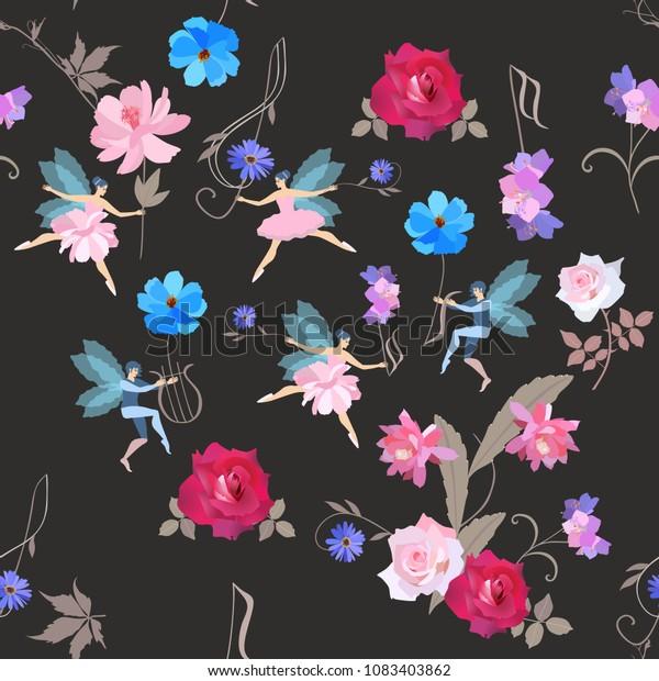 Seamless Musical Magic Pattern Cute Fairies Stock Vector Royalty