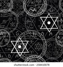 Seamless mystic pattern with occult symbols and pentacles on black background, Halloween set