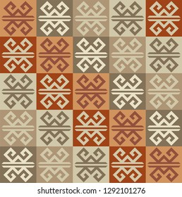 Seamless natural color Oriantal Rug design vector background. in Turkish Rug Style template. Wall Paper, textile, fabric, background.