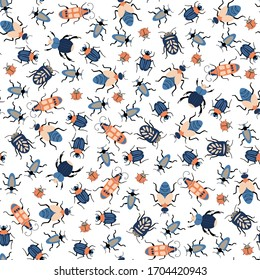Seamless natural pattern, bugs, insects, insects a white background. Hand drawing. Design for textiles, wallpapers, printed products. Vector illustration