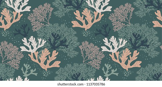 Seamless natural pattern with corals and algae on a blue background for printing, fabric, textile, manufacturing, wallpapers.Vector illustration
