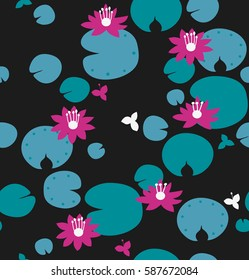 Seamless natural pattern with water lilies, lotus. Vector decorative background, floral texture
