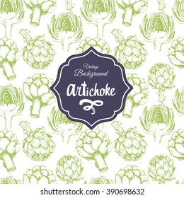 Seamless nature background with artichoke. Fresh organic food. Vegetables vintage pattern. Hand-drawn sketch of artichoke.