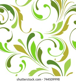 Seamless nature background of green color. Flourish swirly ornament for design fabric, paper, wrapping, wallpaper.