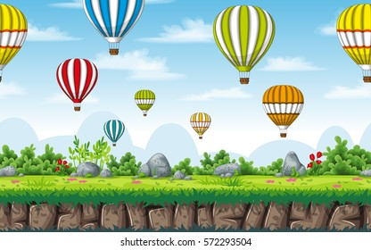 Seamless nature background with hot air balloons. Vector illustration with separate layers.