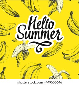 Seamless nature pattern with  bananas in sketch style on yellow background. Hand-drawn illustration. Fresh organic food. Hello summer.
