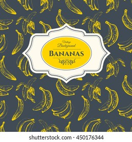 Seamless nature pattern with sketch of bananas on black background. Hand-drawn illustration in vintage style. Fresh organic food.