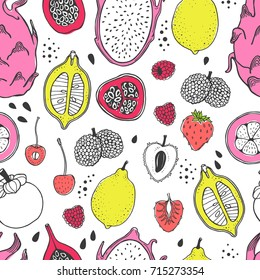 Seamless nature pattern with sketch of fruit. Yellow, pink and red vector line illustration of papaya, fig, pear, peach, mangosteen, lychee on white background. Tropical food.