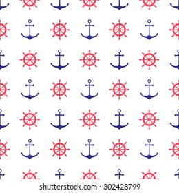 Seamless nautical pattern with anchors and ship wheels. Design element for wallpapers, web site background, baby shower invitation, birthday card, scrapbooking, fabric print etc. Vector illustration.