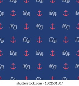 Seamless nautical pattern with anchors and waves. Sea concept backdrop. Vector illustration