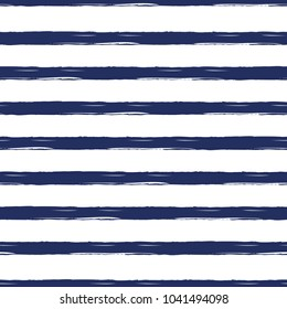 Seamless nautical pattern with hand painted brush strokes, striped background. Vector illustration. Endless summer vacation ocean template for wallpaper, web, fabric, textile, package design, wrap