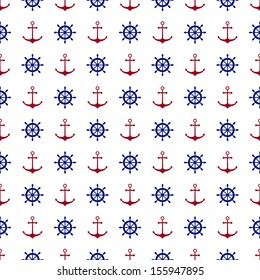 Seamless nautical pattern with red anchors and blue ship wheels. Vector illustration.