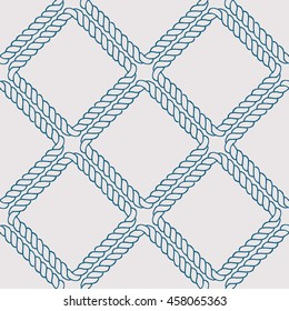 Seamless nautical rope knot pattern. Endless navy illustration with blue fishing net ornament on white backdrop. Trendy maritime style background. For fabric, wallpaper, wrapping