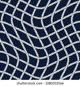 Seamless nautical rope pattern. Endless navy illustration with white net ornament. Checkered cords on dark blue backdrop. Trendy maritime style background. For fabric, wallpaper, wrapping