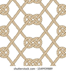 Seamless nautical rope pattern. Endless navy illustration with beige loop ornament. Marine Carrick Bend knots isolated on white. Trendy maritime style background. For fabric, wallpaper, wrapping