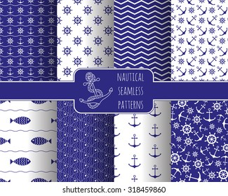 Seamless nautical themed patterns set. Anchors, ship wheel, fish, chevron, waves. Design elements for wall paper, baby shower invitation, birthday card, scrapbooking, fabric print. Vector illustration