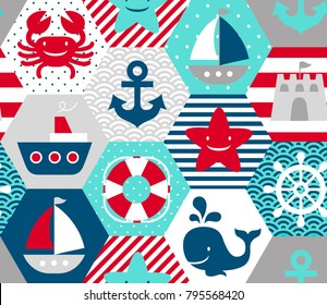 Seamless nautical themed vector pattern on white background.