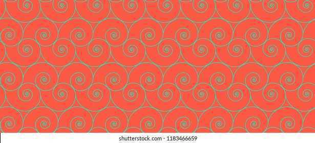 Seamless nautilus shell background. Geometric pattern vector illustration.