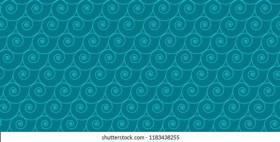 Seamless nautilus shell pattern, geometric shape vector illustration. Sea, ocean concept