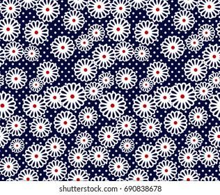 seamless navy vintage flower pattern on navy dot background