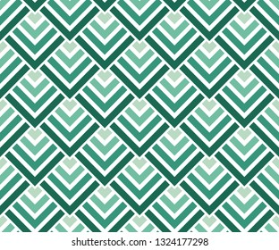 Seamless neo mint green gradient geometric squares pattern. Art deco vector illustration