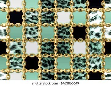 Seamless neo mint leopard and gold chain pattern