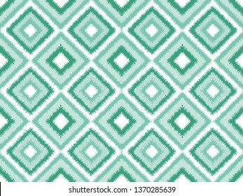Seamless neo mint square ikat vector pattern