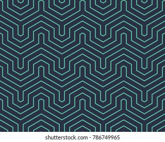 Seamless neon blue op art geo abstract isometric vintage stripes pattern vector
