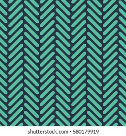 Seamless neon blue rounded herringbone op art geo pattern vector