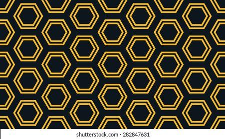 Seamless neon orange distant hexagons pattern vector