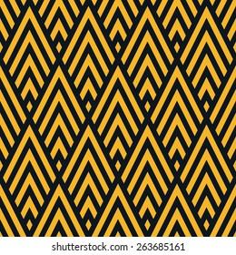 Seamless neon orange rhombic chevrons art deco pattern vector