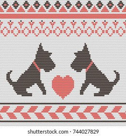 Seamless New Year 2018 symbol dog pattern