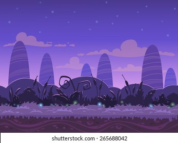Seamless night landscape, never ending vector nature background with separated layers for game design