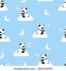 Seamless night pattern with cute panda bears on the clouds. Vector background for kids.