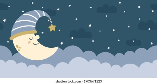 Seamless night sky background. Clouds, stars, and crescent. For nursery room wallpaper, decoration, web banners, headers, etc.