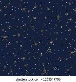 Seamless night sky pattern in winter theme. Eps 10.