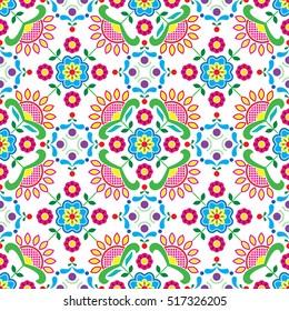 Seamless Norwegian traditional folk art Bunad pattern - Rosemaling style embroidery