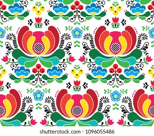 Seamless Norwegian vector folk art pattern - Rosemaling style embroidery background. Scandinavian repetitive ornament of floral folk art from Norway  on white