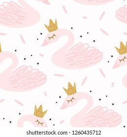 Seamless nursery pattern with swan. Scandinavian style fashionable template for design. Vector illustration.